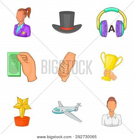 Task-work Icons Set. Cartoon Set Of 9 Task-work Icons For Web Isolated On White Background