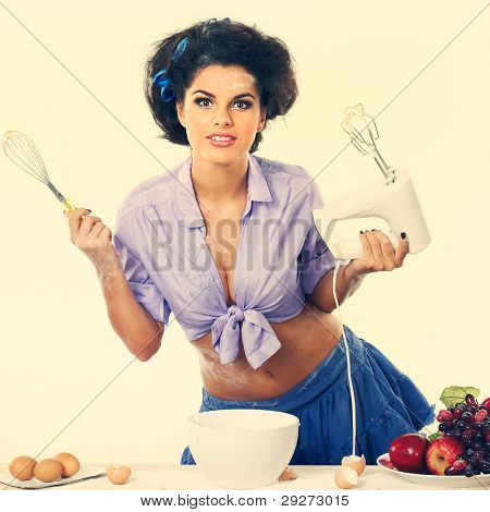 Photo of beautiful sexual brunette on a kitchen in style of pinap