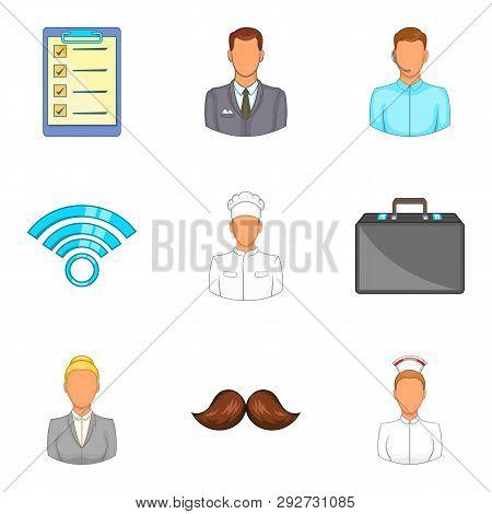 Task Icons Set. Cartoon Set Of 9 Task Icons For Web Isolated On White Background