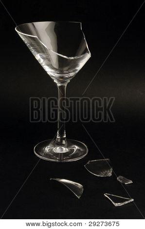 Broken martini glass