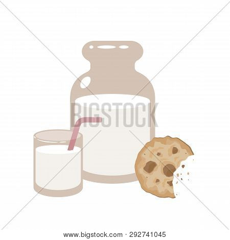 Jar And A Glass Of Milk With Cookies. Vector Illustration. Eps 10