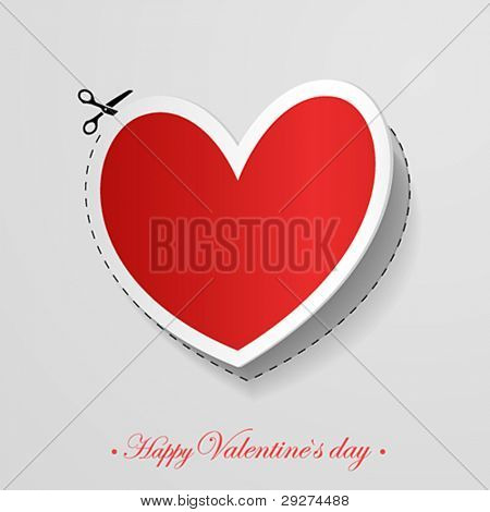 Valentine`s Day card with cut heart shaped sticker. Vector illustration.