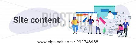 Contents Creation Professionals Team Working On Landing Page Site Content Web Design And Development