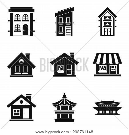 Abode Icons Set. Simple Set Of 9 Abode Icons For Web Isolated On White Background