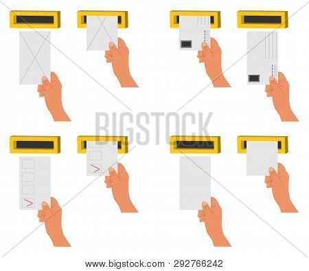 Hand Send Letter And Blanks In A Letterbox. Vector Cartoon Flat Icons Set Isolated On A White Backgr