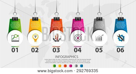 Modern 3D Vector Illustration. Infographic Circles Template With Six Elements, Icons, Clips. Step By
