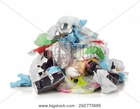 Garbage Pile Isolated On A White Background