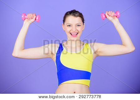 It All Starts With Attitude. Sport Dumbbell Equipment. Athletic Fitness. Sporty Woman In Gym. Health