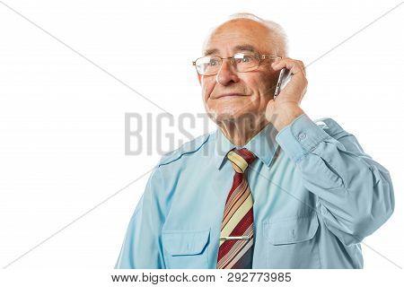 Smiling Happy Elderly Senior Man Talking On Mobile Phone Isolated On White Background