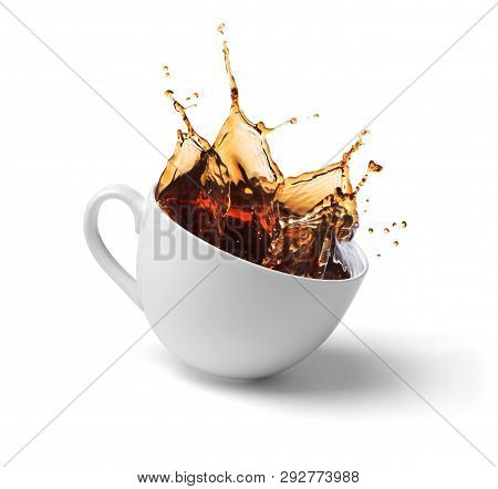 A Cup Of Coffee, Tea, Splashes  On A White Background.