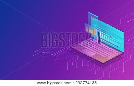3d Vector Isometric Illustration. Futuristic Design Concept. Digital Technology Background. Modern V