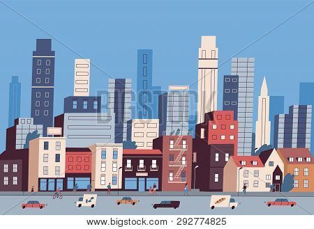 Big City Life. Panoramic View Of Modern Downtown With Urban Buildings, Skyscrapers, Transport On Roa