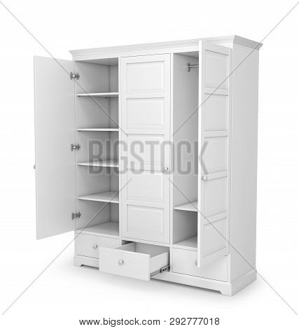 White Closet With Open Doors Isolated On White Background. 3d Illustration
