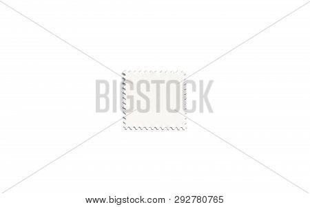 Blank White Square Postage Stamp Mockup, Isolated, Depth Of Field, 3d Rendering. Empty Mark For Lett