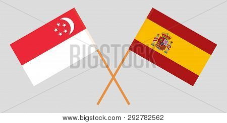 Singapore And Spain. The Singaporean And Spanish Flags. Official Colors. Correct Proportion. Vector
