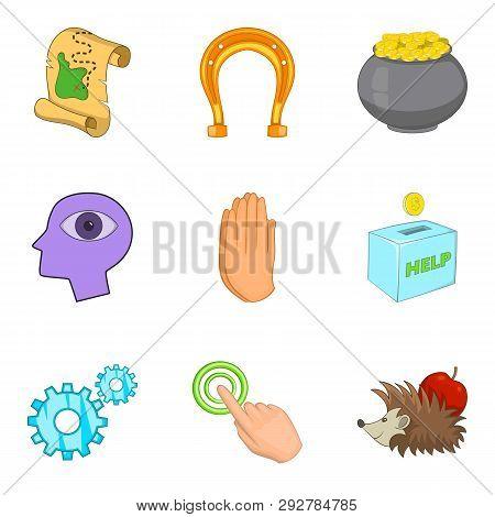 Benefaction Icons Set. Cartoon Set Of 9 Benefaction Icons For Web Isolated On White Background