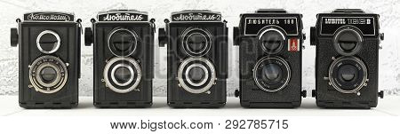 Moscow, Russia, March 30, 2019. The Old Soviet Medium Format Film Tlr Cameras Lubitel And Komsomolet