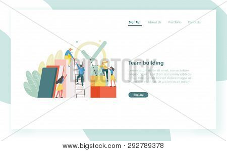 Landing Page Template With Group Of Clerks, Employees Or Office Workers Climbing Up Together And Sup