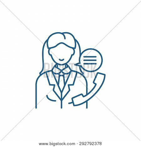 Office Manager Line Icon Concept. Office Manager Flat  Vector Symbol, Sign, Outline Illustration.