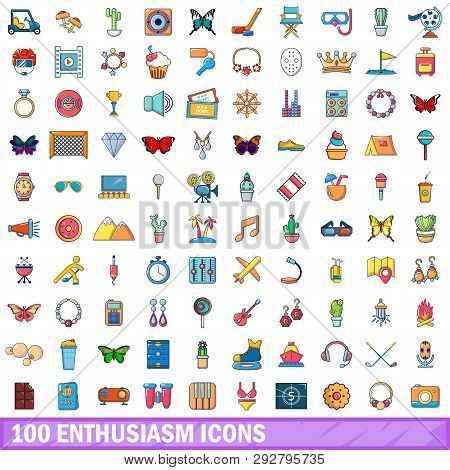 100 Enthusiasm Icons Set In Cartoon Style For Any Design Illustration