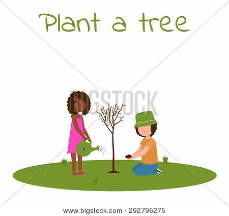 Children Planting New Tree. Boy And Girl Planting A Tree. Arbor Day. Flat Vector Illustration.