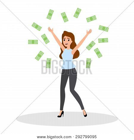 Happy Successfull Woman Jumping With Money Banknotes
