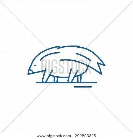 Porcupine Line Icon Concept. Porcupine Flat  Vector Symbol, Sign, Outline Illustration.