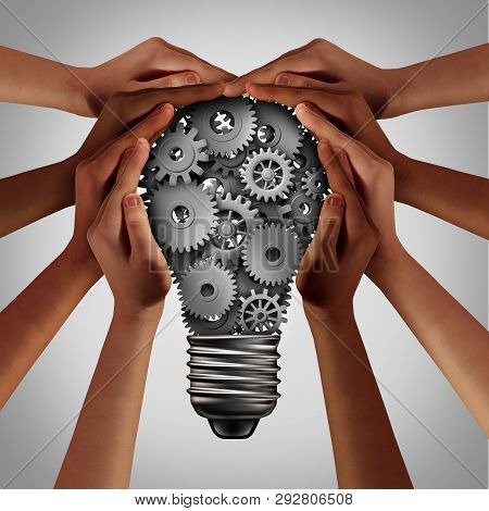 Business Diversity Solution And People Working Idea As Ethnic Diverse Hands Pushing Gears And Cog Wh