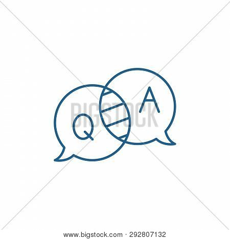 Questions And Answers Line Icon Concept. Questions And Answers Flat  Vector Symbol, Sign, Outline Il