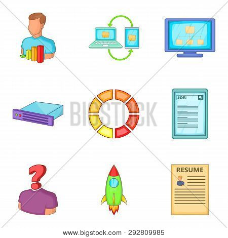 Resume For Work Icons Set. Cartoon Set Of 9 Resume For Work Icons For Web Isolated On White Backgrou