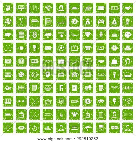 100 Sweepstakes Icons Set In Grunge Style Green Color Isolated On White Background Illustration