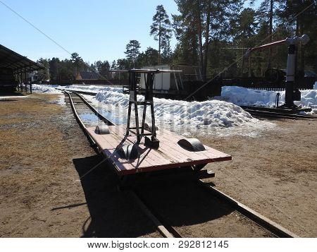 Old Railway Handcar On Narrow-gauge Railway Rails.