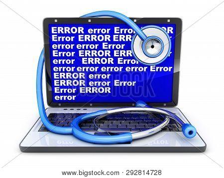 Laptop Blue Screen Error And Stethoscope. 3d Illustration