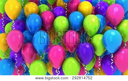 Many Balloons, Multi Colored Background .3d Illustration