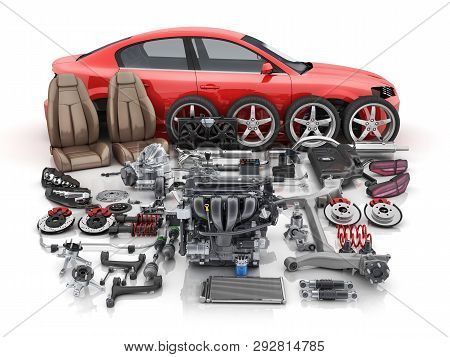 Red Car Body Disassembled And Many Vehicles Parts. 3d Illustration