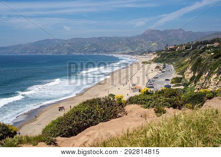 Scenic View From The Bluff Headland At Point Dume In Malibu California