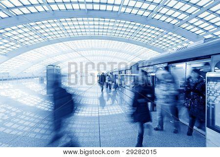 Beijing Capital International Airport Passenger Train And Tourists