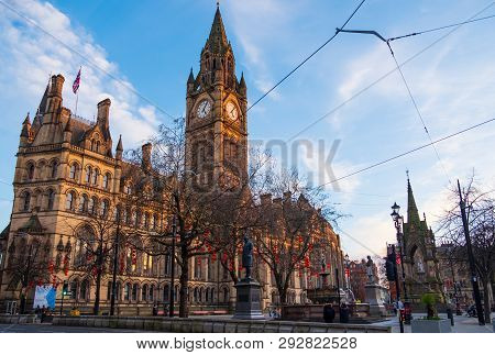 Manchester, United Kingdom - February 17, 2019: Manchester Town Hall With Chinese New Year Lantern D