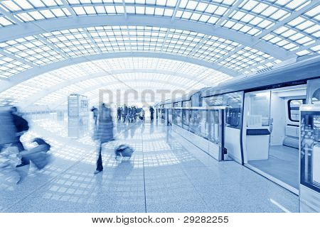Beijing Capital International Airport Passenger Train And Tourists