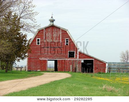 red barn in farmyard