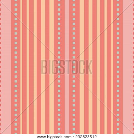 Coral, Pink And Peach Orange Vertical Striped Design With Tiny Blue Squares. Seamless Vector Seamles