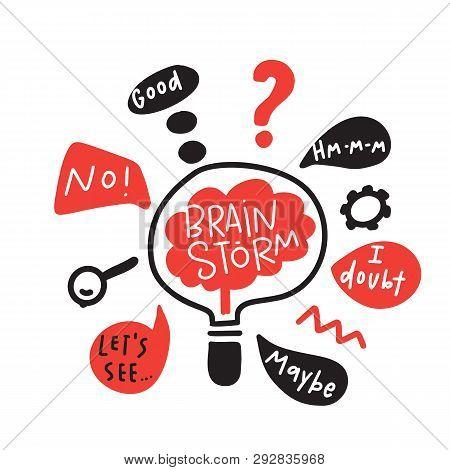 Brainstorm. Funny Hand Drawn Illustration Of Brainstorming Process. Brain Inside The Lamp. Vector.