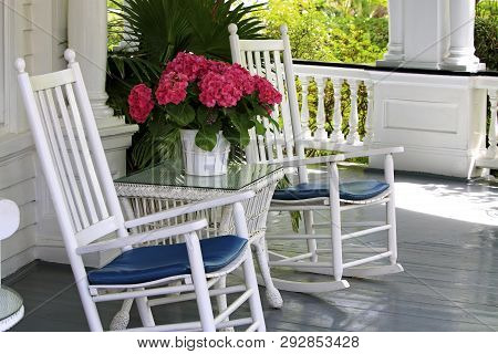 Rocking Chairs On Southern Porch Charleston South Carolina