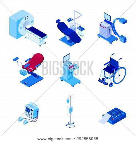 Medical Diagnostic Examination Equipment. Vector 3d Isometric Illustration Of Mri Scanner, Dentist,