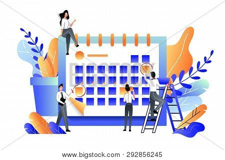 Planning, Management, Deadline And Time Management Business Concept. Vector Flat Illustration. Team
