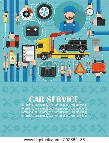 Car Service Online Call Flat Design With Wrecker Car And Mechanic.lorem Ipsum Is Simply Text.vector