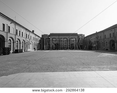 Alba, Italy - Circa February 2019: Museo Archeologico (archeological Museum) In Black And White