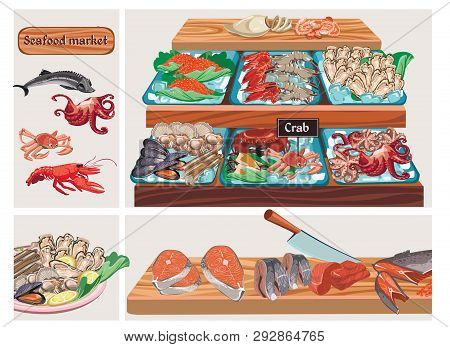 Flat Seafood Market Composition With Sturgeon Octopus Crab Lobster Caviar Mussels Prawns Shrimps Squ