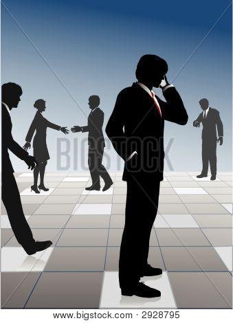 Geschäftsleute schließen Sie Netzwerk