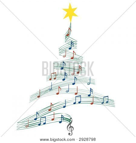 a christmas tree of musical notes symbolizing christmas carols and other christmas music looks good on black or white - Black Christmas Music
